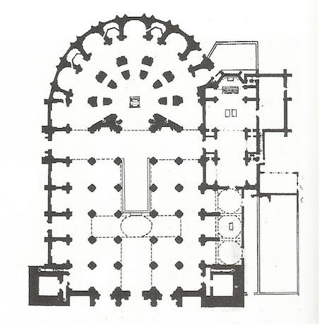 Plano de la planta de la Catedral dibujado por Siloe en 1528.